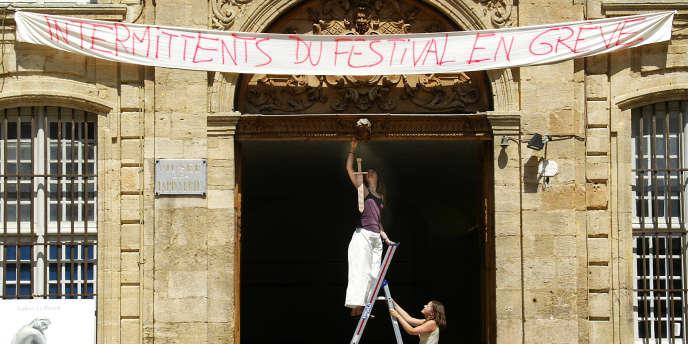 Lors de la grève de 2003 au Festival d'art lyrique d'Aix-en-Provence.