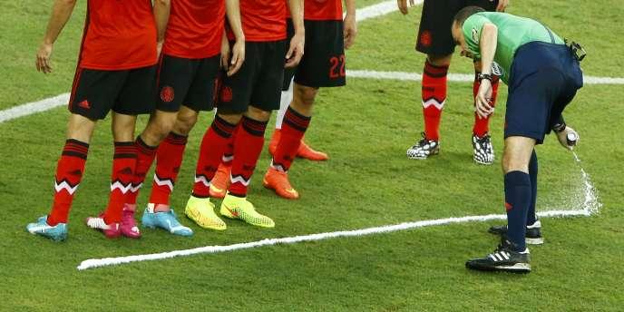 L'arbitre Cuneyt Cakir, lors de Mexique-Brésil, utilise son spray, le 17 juin à Fortaleza.