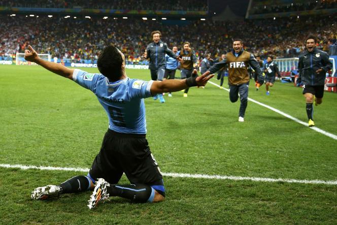 Luiz Suarez libère l'Uruguay en inscrivant le but de la victoire contre l'Angleterre, le 19 juin à Sao Paulo.
