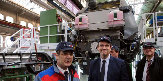 Arnaud Montebourg lors d'une visite à l'usine Alstom de Belfort, en mars 2013.