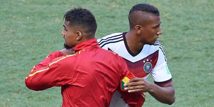 L'attaquant ghanéen Kevin-Prince Boateng et son frère Jérôme, défenseur de la Mannschaft, samedi sur la pelouse de Fortaleza.