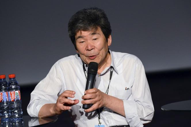 Le réalisateur japonais Isao Takahata lors d'une conférence de presse au Festival international du film d'animation à Annecy, le 10 juin 2014.
