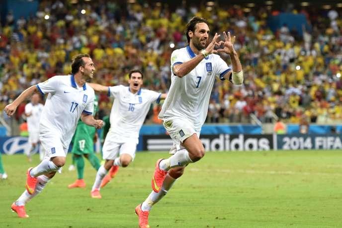 Samaras, auteur du penalty de la qualification, mardi 24 juin, contre la Côte d'Ivoire.