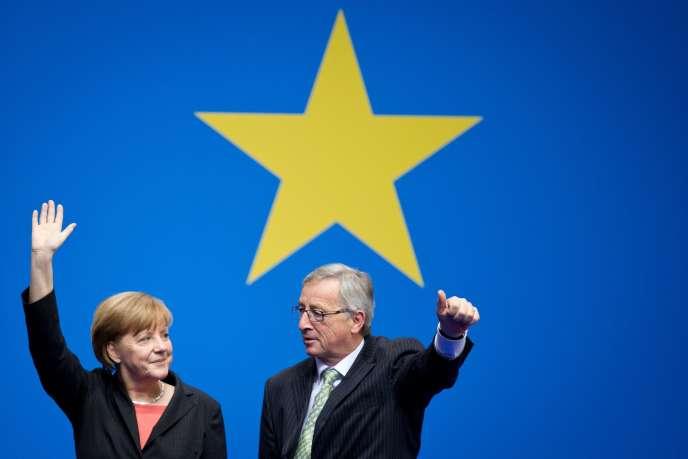 Jean-Claude Juncker et la chancelière allemande, Angela Merkel, le 5avril à Berlin.