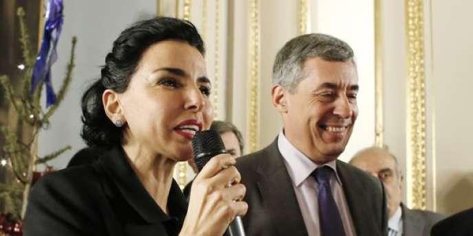 Rachida Dati et Henri Guaino, en janvier 2014 à la mairie du 7e arrondissement de Paris.