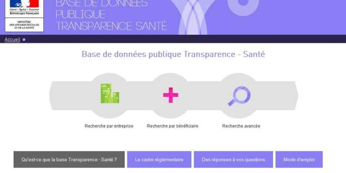 Page d'accueil du site www.transparence.sante.gouv.fr