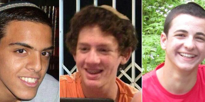 Les trois adolescents israéliens retrouvés morts le 30 juin près de Hébron : Eyal Yifrach, 19 ans, Naftali Frenkel et Gilad Shaar, 16 ans.