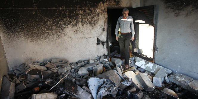 Maison palestinienne bombardée à Hebron.
