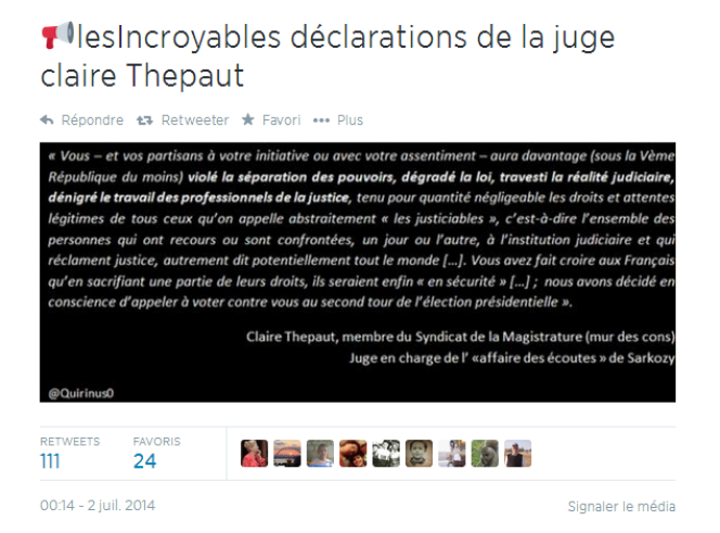 Faux texte attribué à Claire Thepaut, qui émane en réalité du syndicat de la magistrature.