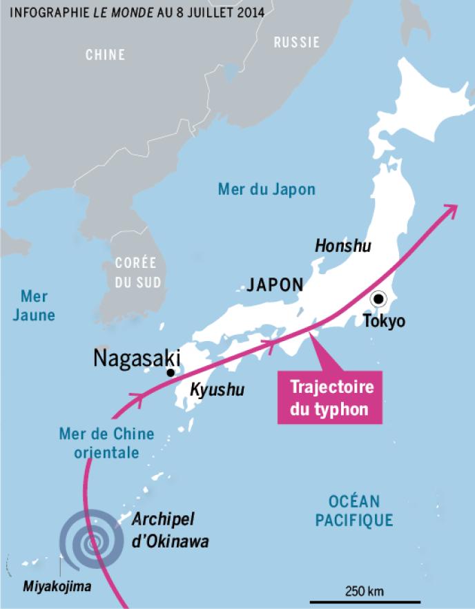 Le typhon devrait traverser la quasi-intégralité du Japon du sud au nord et d'ouest en est sur l'ensemble de la semaine, du 8 au 12 juillet 2014.