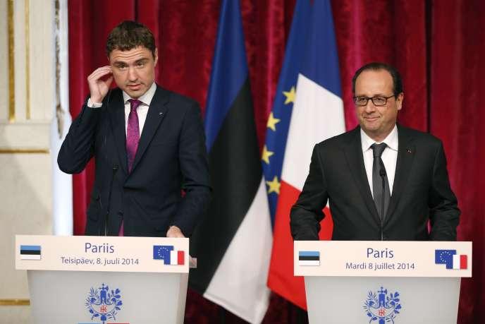 Taavi Roivas et François Hollande, le 8 juillet à l'Elysée.