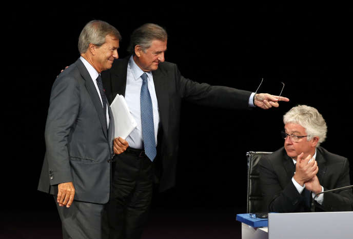 Vincent Bolloré (à gauche), avec Jean-René Fourtou (au centre) et Hervé Philippe, le 24 juin, à Paris.