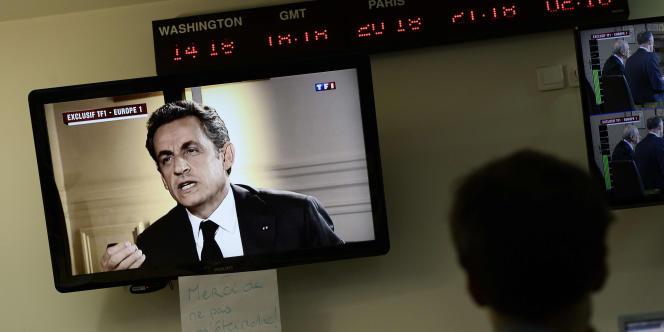 A l'AFP, pendant l'entretien télévisé de Nicolas Sarkozy après sa mise en examen, le 2 juillet.
