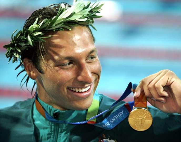 Ian Thorpe après sa victoire en 200 mètres nage libre, aux JO de 2004, à Athènes.