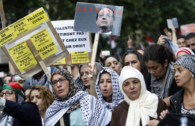 Une manifestation propalestinienne à Paris, le 13juillet.
