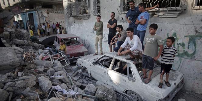 Les ruines d'une maison à Rafah.