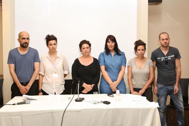 Shlomi Elkabetz, Tali Shalom Ezer, Keren Yedaya, Efrat Korem, Shira Geffen, Nadav Lapid lors de la conférence de presse au festival de Jérusalem, le 14 juillet.