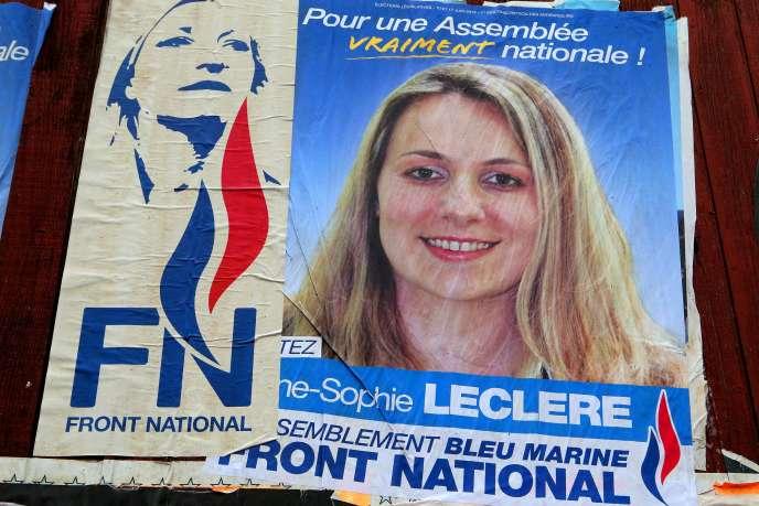 L'ancienne affiche de campagne d'Anne-Sophie Leclère.
