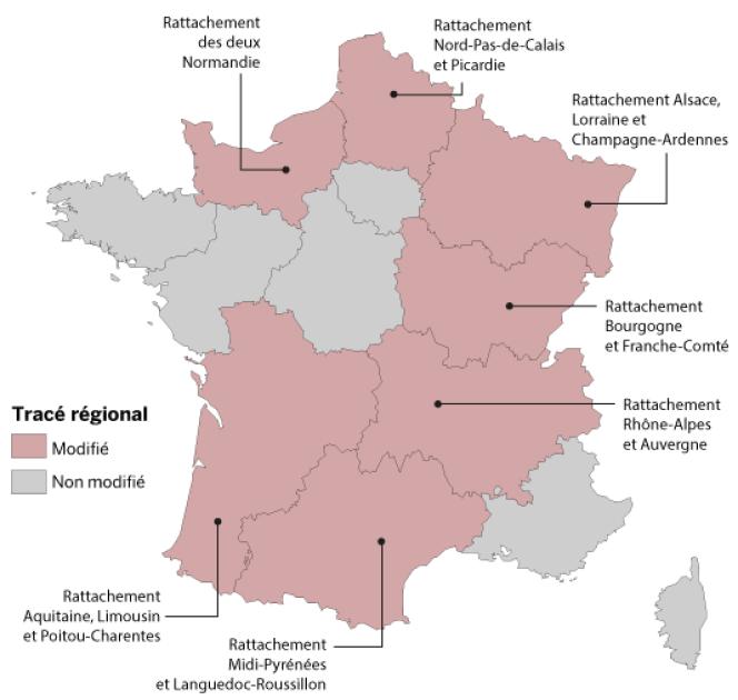 Cette nouvelle version prévoit la fusion des régions Poitou-Charentes, Limousin et Aquitaine ainsi que Nord - Pas-de-Calais et Picardie.