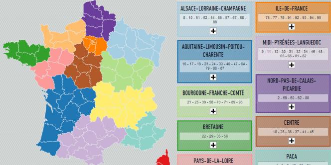 La nouvelle carte des régions proposée mardi 15 juillet par les députés PS.