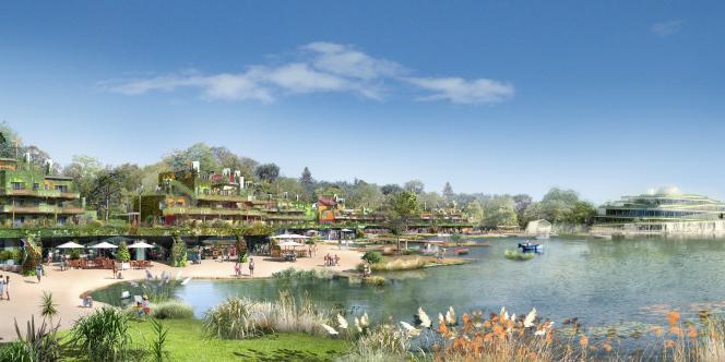 Murs végétalisés, jardins suspendus, géothermie…  le Village Nature, conçu par les groupes Euro Disney  et Pierre & Vacances-Center Parcs, s'apprête à sortir de terre à quelques kilomètres du parc Eurodisney.