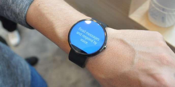 Une montre connectée («smartwatch») présentée au Salon Google IO de San Francisco.