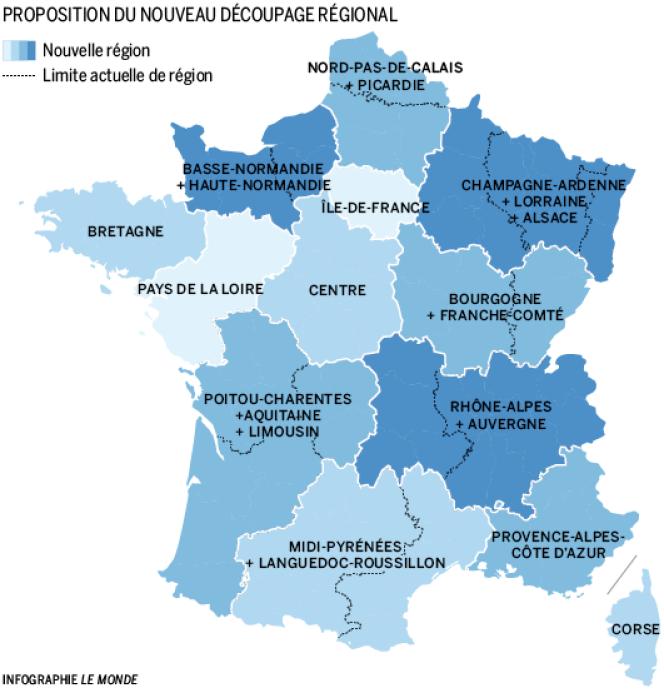 Carte des treize régions adoptée par les députés.