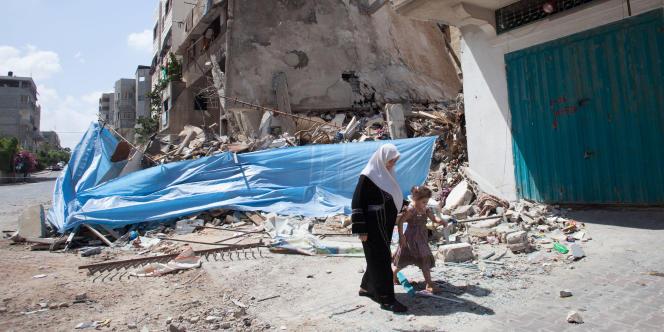 Une maison de Gaza détruite par un bombardement israélien, selon la police palestinienne, mardi 15 juillet.