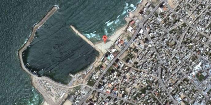 La plage où sont morts quatre enfants palestiniens, le 16 juillet.