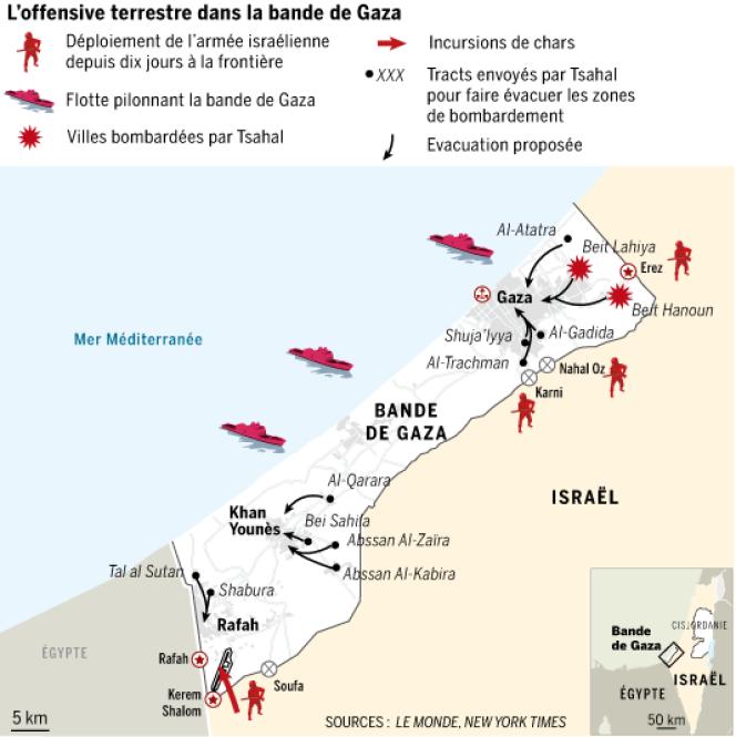 L'offensive terrestre dans la bande de Gaza