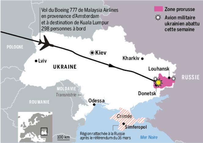 Le trajet du vol MH17.