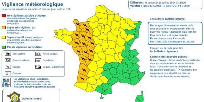 Météo-France avertit d'un « fort risque de grosse grêle » et de « précipitations intenses ».