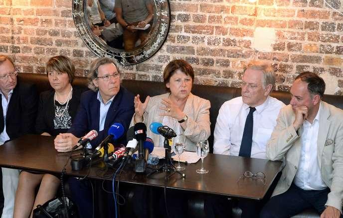 La maire de Lille, Martine Aubry, lors d'une conférence de presse à Paris vendredi 18 juillet.