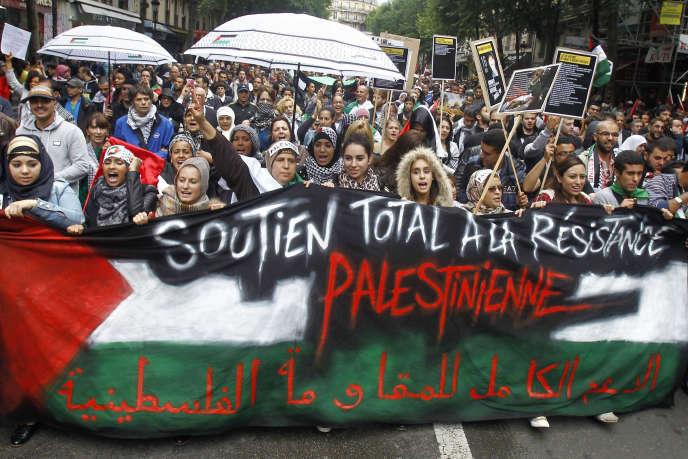 Manifestation de soutien aux Palestiniens, à Paris, le 13juillet.
