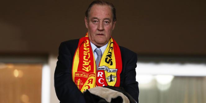 Gervais Martel, le président du RC Lens, enmars 2014, pendant un match de Coupe de France.