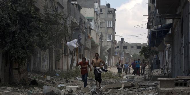 La quartier de Chadjaiya a subi le bombardement le plus meurtrier depuis 2008, le 20 juillet 2014.