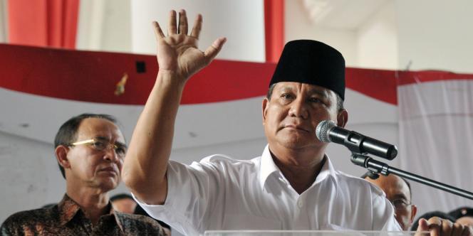 Le candidat Prabowo Subianto à Jakarta, le 22juillet.