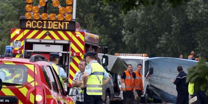 Scène de l'accident qui a coûté la vie à six personnes dont cinq enfants, mardi 22 juillet.