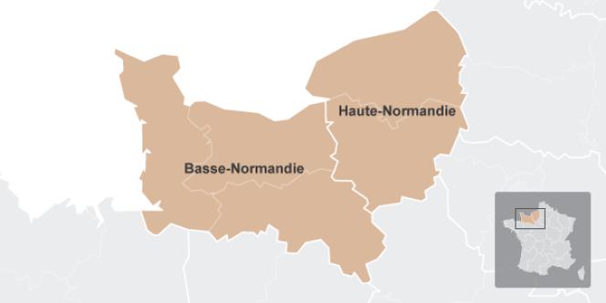 Fusion des régions : Basse-Normandie et Haute-Normandie (carte)
