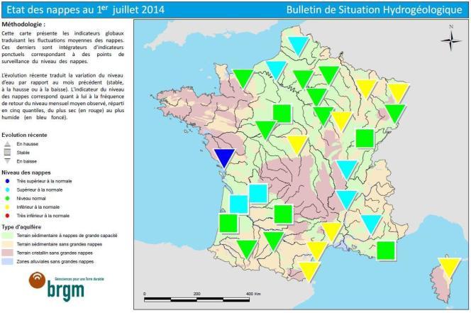 Etat des nappes d'eau souterraine au 1er juillet