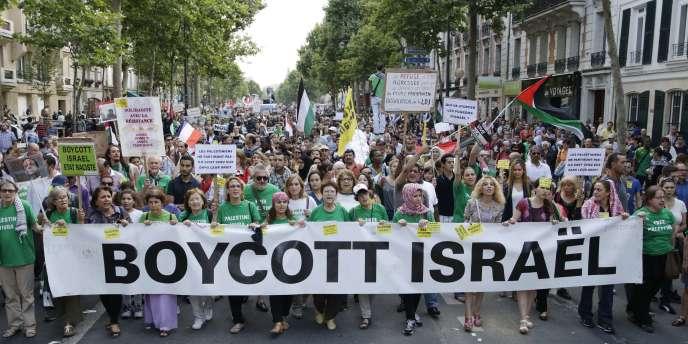 Départ du cortège de la manifestation en soutien à Gaza, mercredi 23 juillet.