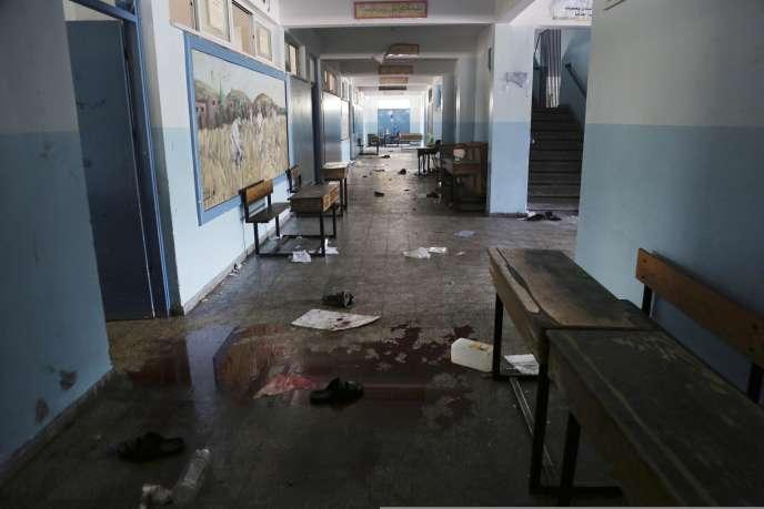 L'école de l'ONU visée par les tirs israéliens, le 24juillet.