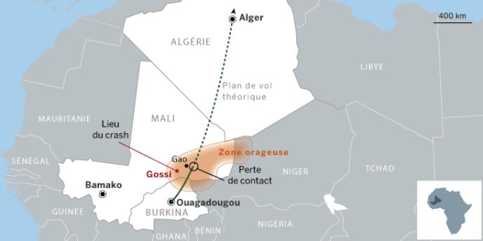 Carte de situation de la zone de crash du vol d'Air Algérie AH5017.