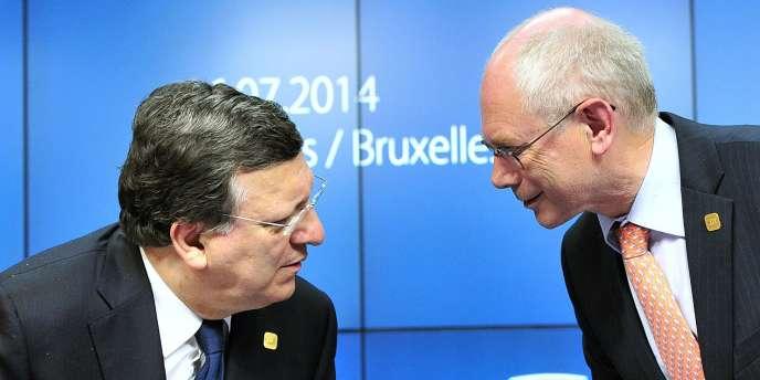 José Manuel Barroso et Herman Van Rompuy à Bruxelles, le 16 juillet.