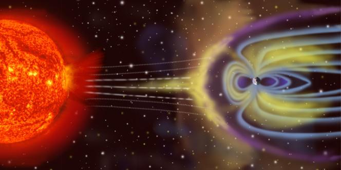 Schéma décrivant la trajectoire potentielle d'une tempête solaire.
