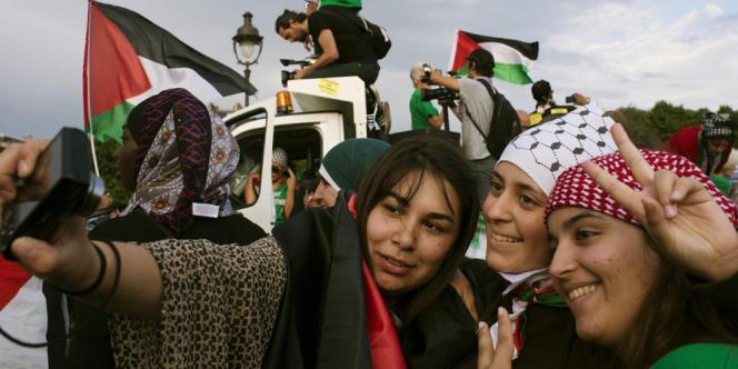 A la manifestation de soutien à la population de Gaza, le 23 juillet, à Paris.