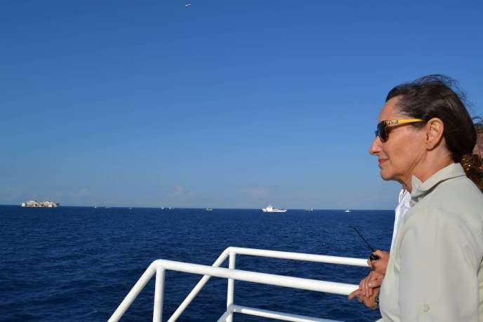 La ministre de l'environnement au large de Bastia le 24 juillet.