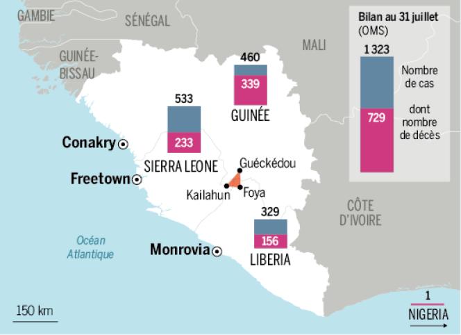 Le triangle épicentre de l'épidémie Ebola, où les trois pays ont décidé de mettre en place un cordon sanitaire.