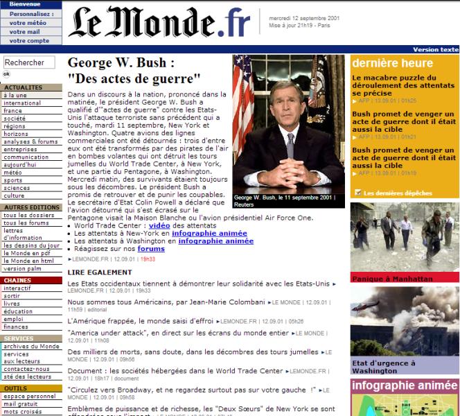La « une » du 12 septembre 2001