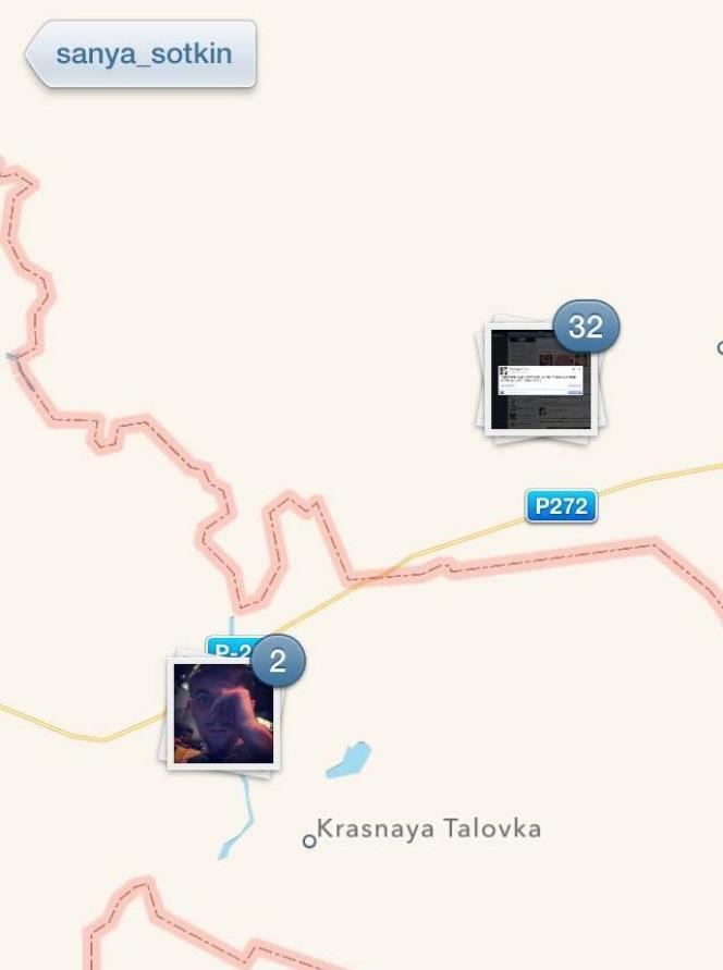 La géolocalisation des photos postées par le compte Instagram @sanya_sotkin.